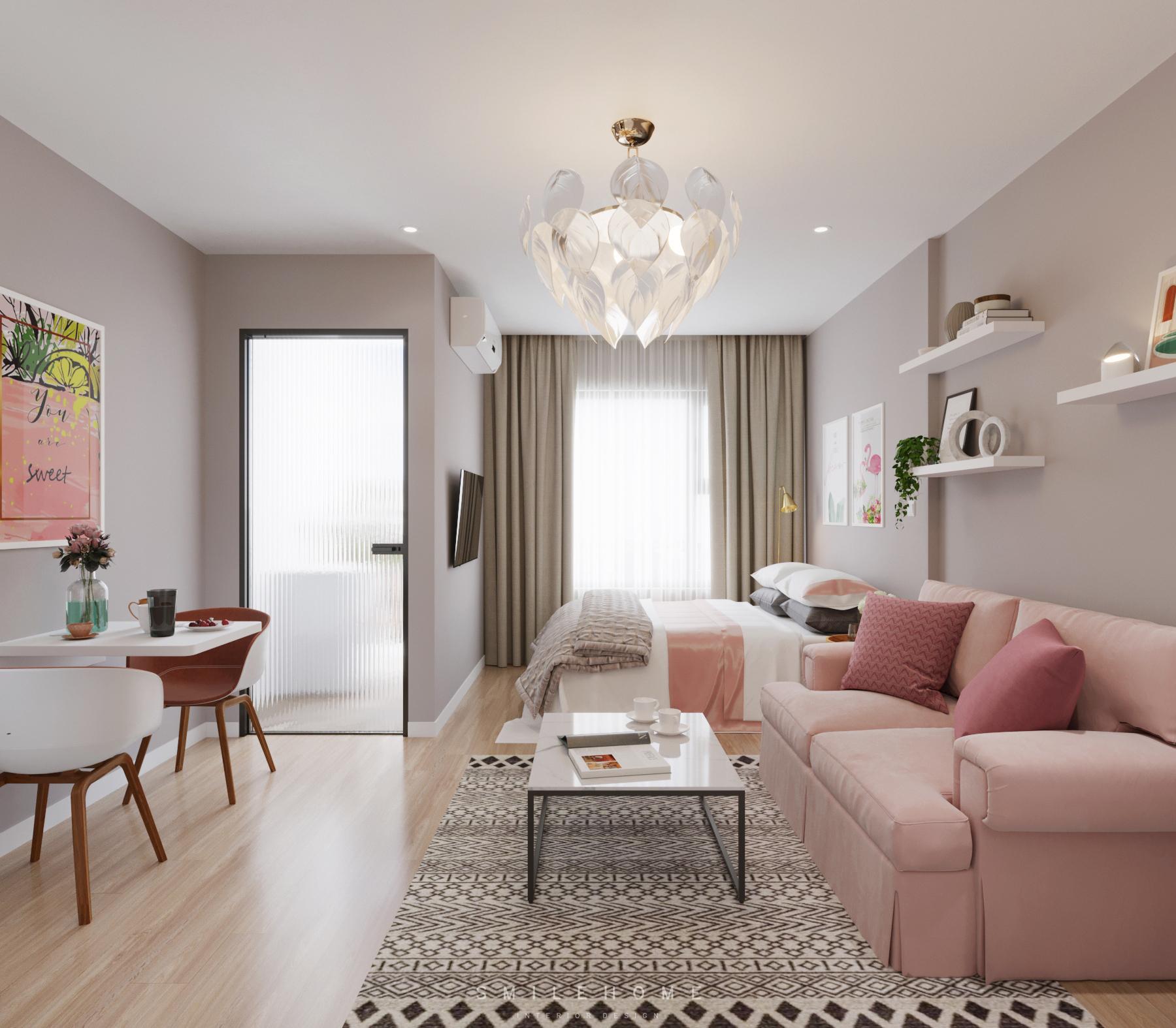 Mẫu thiết kế nội thất căn hộ 2 phòng ngủ
